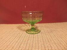 "Vintage Anchor Hocking Depression Glass Circle Green Low Sherbet Stem 3 1/4"" T"