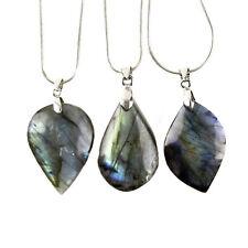 Labradorite Pendant Necklace Natural Stone On Silver Chain