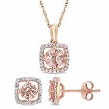 Amour 10k Rose Gold Morganite and Diamond Floating Halo Jewelry Set