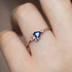 Gorgeous Jewelry 925 Silver Ring Blue Sapphire for Women Wedding Rings Size 6-10