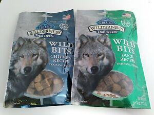 2 Natural Healthy Blue Buffalo Wilderness BITS Dog Treats Chicken/Duck 4 oz