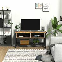 TV Media Stand for TVs Smaller than 45'' w/ 3 Shelves Cable Holes Metal Frame