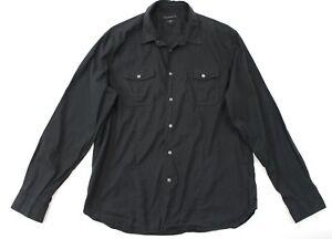 Men's John Varvatos Luxe Black Cotton Casual Dress Shirt XL