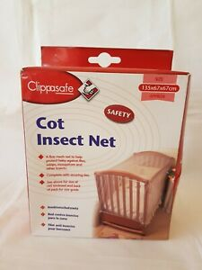Clippasafe Cot Insect Net Standard Size 135x67x67cm New