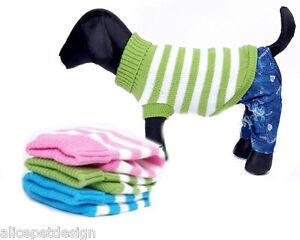 Warmer gestreifter Hundepullover TOP QUALITÄT Hund Pullover 3 Farben XS S M L XL