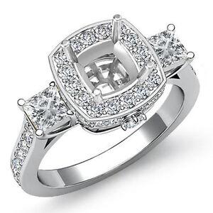 Diamond Three 3 Stone Engagement Cushion Princess Pave Set Ring Platinum 1.1Ct