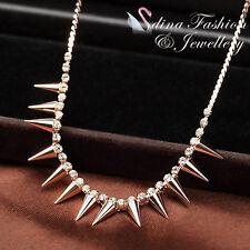 18K Rose Gold Plated Simulated Diamond Fashion Punk Style Statement Necklace