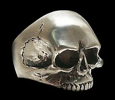 925 Sterling Silver Keith Richards Skull Ring - All Sizes Brush Or Shiny Finish