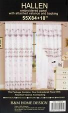 Panel curtain White / Red Embroidered 2 Layers Attached Valance & Backing Hallen
