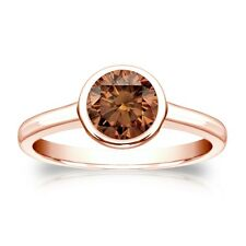 4 Ct Round Brown Solitaire Bezel Engagement Wedding Ring Real 14K Rose Gold