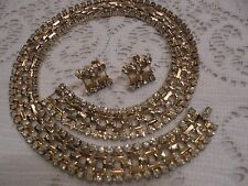 SCITARELLI  CREATIONS BY PHYLLIS  RHINESTONE  NECKLACE EARRING SET