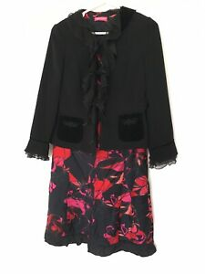 Apriori 2 Piece Set Dress & Matching Jacket Black Floral Pink Red Lined Size 16