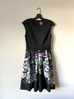 EUC Vince Camuto Floral Stretch Knit Fit & Flare Dress Sleeveless Sz 2