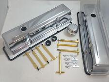 Chrome SB Chevy SBC Tall Valve Cover Kit W/ Gold T-Bars & Gaskets 283 327 350