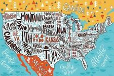 USA - HAND DRAWN MAP POSTER - 24x36 GEOGRAPHY UNITED STATES SCHOOL 11590