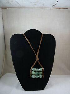 "Artisan Handmade Jade Stone Leather Necklace Adjustable Choker / Long Dangle 36"""