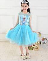 Frozen Disney Elsa Party Dress Disney blue Girls  Costume Dress  UK STOCK