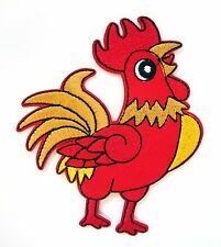 Cockerel Iron On Patch-   Chicken Rooster Farm Bird Embroidered Applique Badge