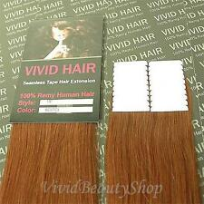 """20pcs 18"""" Remy Seamless Tape In Skin Weft Human Hair Extensions Light Auburn"""