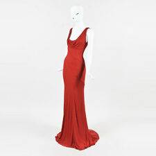 Gianni Versace Red Jersey Draped Scoop Neck Low Back SL High Low Gown SZ 44