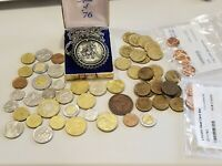 lot of assosrted coins, canada euros three pence, 1976 medallion etc. see photos