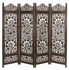 Wood Room Divider 4 Panel Hand Carved Screen Free Shipping Mainland USA!