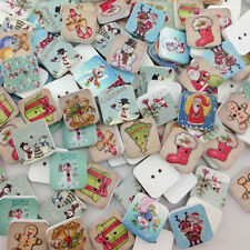 100pcs Merry Christmas Wood Buttons Clothing Sewing Tool 15mm WB04