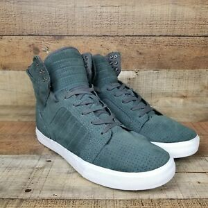 Supra Skytop Men Sz 11.5 Suede Olive Gray White Sneakers S18237 Casual Comfort
