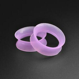 Silicone Flesh Ear Tunnel Gauge | Ultra Thin Purple Silicone Double Flare Tunnel