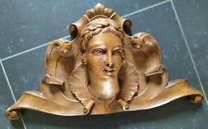 SUPERB WALNUT WOODEN FRONT, PEDIMENT WITH WOMANS HEAD