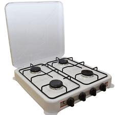 Fornello Gas Gpl 4 Fuochi Bianco Fornellino da Campeggio Cucina Portatile 51x47