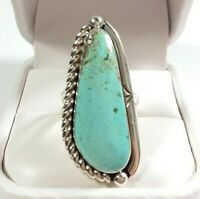 NAVAJO ALICE JOHNSON ELONGATED ETCHED BRAIDED ROYSTON TURQUOISE SIZE 6 RING