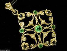 P96 Genuine 9K Solid Gold Natural Emerald Sapphire Pearl Pendant Victorian Style