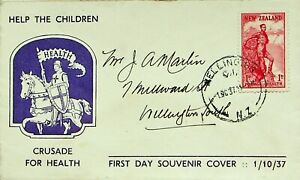 NEW ZEALAND 1937 1d ON CRUSADE FOR HEALTH HELP THE CHILDREN ILLUSTRATED FDC
