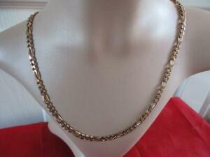 """9ct Gold Figaro Chain Length 20"""" 5mm Wide Weight 26.2 gram  Not Scrap"""
