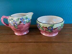 Vintage Maling Pink Cream Jug and Sugar Bowl – Thumb Print 6565