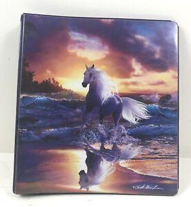 "Retro MEAD Trapper Keeper Binder White Horse Ocean Sunset 3 Ring 1"" Lassen"
