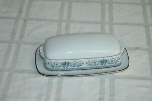 Noritake Fine China Blue Hill 1/4lb Covered Butter Dish Porcelain Vintage