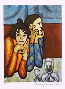 Pablo Picasso Harlequin & Companion Limited Giclee Estate Signed 20 x 13