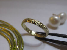 14k Yellow gold wedding ring for woman.Handmade unique wave texture gift ring.