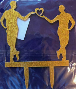 Same Sex Gay WEDDING CAKE TOPPER 2 GROOMS Silhouette Design Ships Quick!
