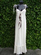 Maxi Dress Cream Embroidery 100% Soft Cotton UK Size 12 Reg  NEW TAGS