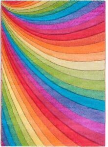 Rainbow Rug Runner Multi Colour Bright Vibrant Hand Carved 3D Effect Any Room