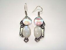 "AB Aurora Borealis Rainbow Mystic Topaz Moonstone .925 Silver Hook Earrings 2"""