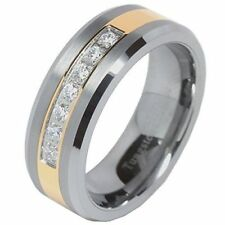 Mens Tungsten Ring Cz Inlay Gold Plated Titanium Color Wedding Band Beveled Edge