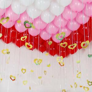 100Pcs Sequins Card Love Heart Pendants Balloons Hanging Wedding Party Decor UK