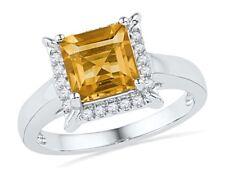 10k White Gold Cushion Lab Citrine Solitaire Diamond Frame Ring 1-7/8 Cttw