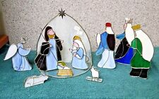 Stained Glass Nativity set of 10 for Christmas made in China by unknown manufact