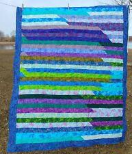 "Machine sewn Colorful Blue Lap Quilt 66"" x 52"" Wall Hanger"