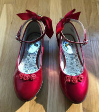Stride Rite Girls Disney princess snowwhite red patent flats ankle straps size10